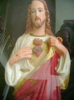 antique JESUS STATUE chalkware WALL SHADOWBOX