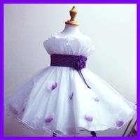 26JAN1 #PU818 2 PURPLE White Wedding Bridal Pageant Flower Girls Dress