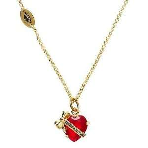 Juicy Couture Jewelry Banner Heart Crystal Necklace Ruby Gold Jewelry