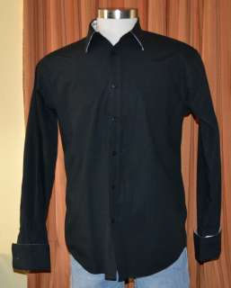 SEAN JOHN LONG SLEEVE BLACK 100% COTTON MODERN BUTTON DOWN SHIRT MENS