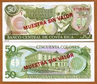 SPECIMEN, Costa Rica, 50 Colones, P 257s, UNC  Rare