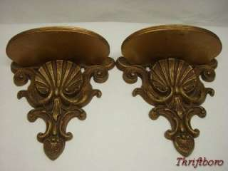 Vintage Shabby Hollywood Regency Sconce Shelves Chic Wood Shelf