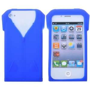 Fashionable Zipper T shirt Design Soft Silicone Case for iPhone 4(Blue