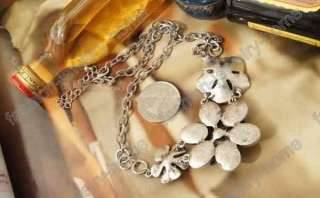 fashion antique silver crystal flower Necklace