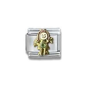 August Peridot Czech Crystal & Gold Little Girl Birthstone Little Girl
