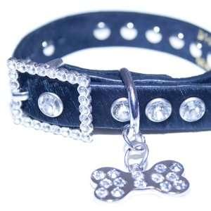 Xx small Black Faux Fur & Rhinestone Dog Collar w/ Bling