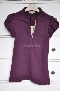 BN100%Auth Women Burberry purple CHECK POLO SHIRT V neck TOP XS