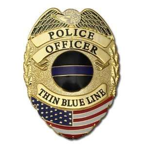 Police Officer Thin Blue Line Flag Badge