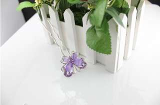Fashion Cute Crystal Purple Butterfly Hairpin Hair Pin Accessories