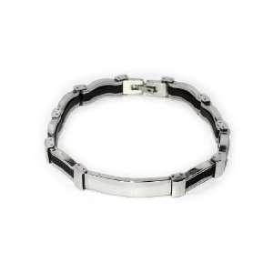 Steel & High Density Rubber Link Chain Bracelet Jewellery Jewelry