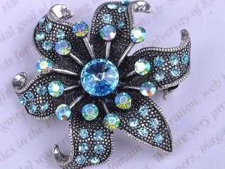 Aquamarine Blue Sapphire Crystal Rhinestone Dark Silver Tone Flower