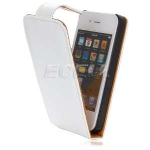 Ecell   NEW WHITE & TAN WEAVE LEATHER FLIP CASE FOR iPHONE