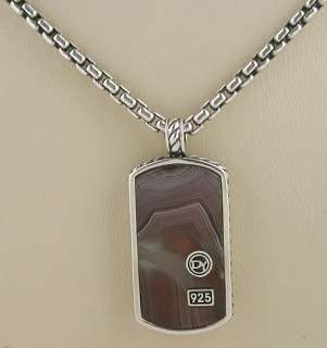 DAVID YURMAN Mens Botswanna Agate Small Dog Tag Necklace 20 $595