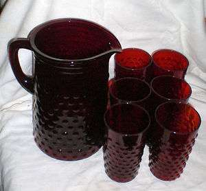 HOCKING GLASS RUBY RED HOBNAIL PITCHER & 6 TUMBLERS