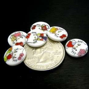 X0133 (45 pcs) Mix Cute Hello Kitty Round 2 Holes Buttons Sewing Craft