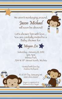Monkey Mania Cute Baby Shower Invitation   Boy   Blue   Stars