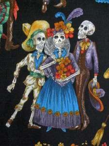 ALEXANDER HENRY MEXICAN DEAD SKELETON SKULL MUERTOS COTTON QUILT SEW