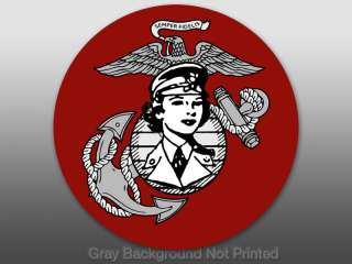 Round Women Marines Logo Sticker  USMC woman female us