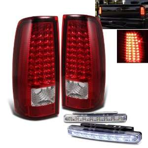 Red LED Tail Lights Lamps + 8 LED Day Time Running Light Automotive