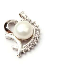 10 11mm white natural pearl & CZ white gold plated pendant
