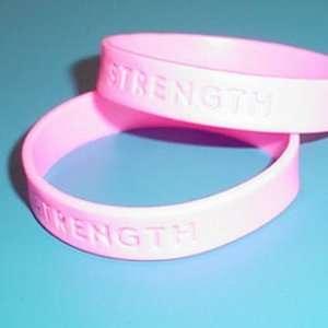 100 Pink STRENGTH Rubber Bracelet Wristbands