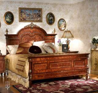 Warm Brown Rococo King Panel Bed
