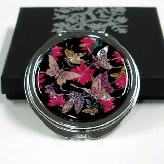 Red Black Makeup Handbag Purse Compact Cosmetic Mini Mirror