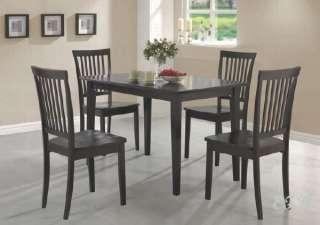 NEW 5PC CAPPUCCINO WOOD RECTANGULAR DINING TABLE SET