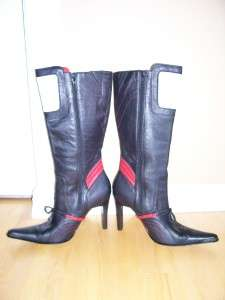 Black Red & White Leather Stiletto Knee High Diverse Fashion Boots 8.5