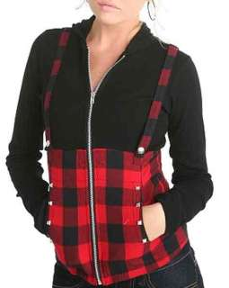 Tripp Suspender Pyramid Stud Red Plaid Black Hoodie L