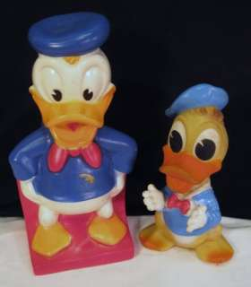 WDP WALT DISNEY PRODUCTIONS~DONALD DUCK BANK~SQUEAKY TOY~RUBBER~PAIR