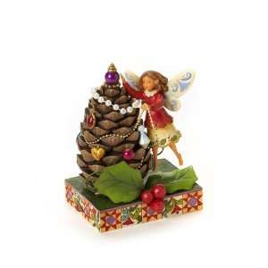 Jim Shore Heartwood Creek Christmas Fairy Decorating Pine Cone