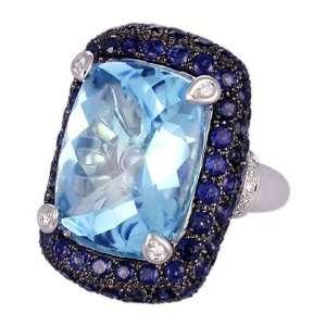 White Gold RKhordipour Blue Sapphire, Blue Topaz & Diamond Ring Size 5