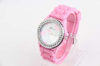 New Fashion Watch Silicone Rubber Jelly WristWatch Crystal Girl Pink