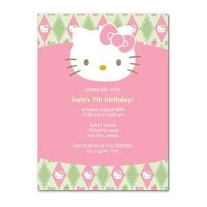 Birthday Party Invitations   Hello Kitty Argyle Charm By