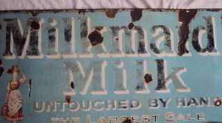 Milkmaid Milk Vintage Porcelain Enamel Sign Very Rare