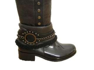 Women Rain Boot Black Snow Winter Knee High Fur Boots