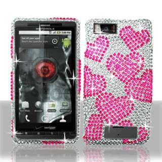 RAINING HEART BLING DIAMOND CASE COVER for MOTOROLA DROID X / X2