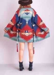 . Hand knit wool. Giant southwestern navajo print. Perfect draping