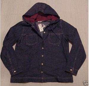 30 nwt Womens Dress Barn Hooded DENIM Jacket LARGE