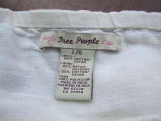 Dressy Free People Cream Cotton Tie Neck Tank Top L