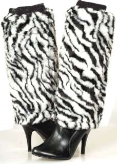 FUR Fashion ZEBRA Animal Print Knee High Fluffy Womens Winter Dress