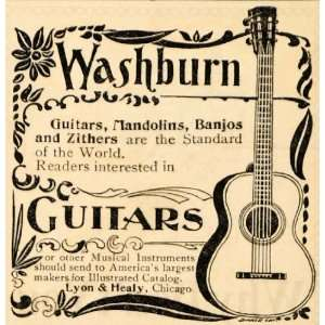1895 Ad Washburn Guitar Banjo Mandolin Lyon & Healy