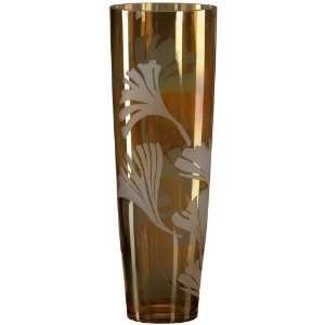 Amber Ginko Leaf 14 1/4 High Art Glass Vase