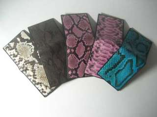 LOT 5 OF SNAKE PYTHON SKIN Leather Wallet Purse AUTH
