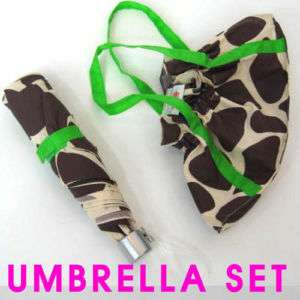 E37 Giraffe animal print SET BAG compact UMBRELLA