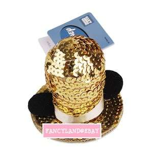 Mickey Mouse Costume *Golden Sequin Hat with Mickey Ears* Hair Clip