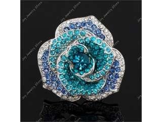 Blue flower crystal rhinestone fashion jewelry ring adjustable