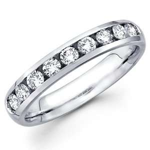 14K White Gold Round cut Diamond Ladies Women Cut Wedding Anniversary