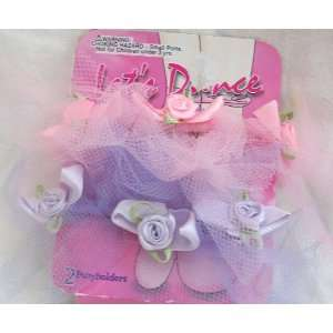 Dance, 2 Pastel Color Pink and Purple Baby Girl Pony Holders Baby